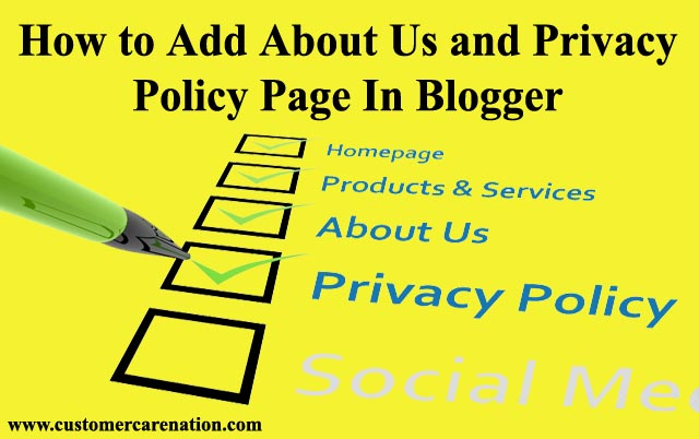 Blogger Me About Us, Privacy Policy Page kese Add kare Complete Guide 2019