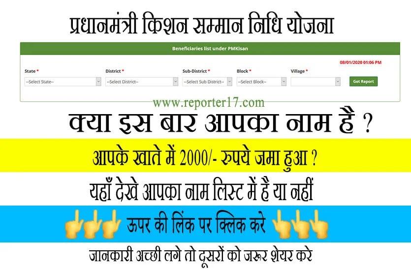 Pradhan Mantri kisan Samman nidhi yojana list 2020