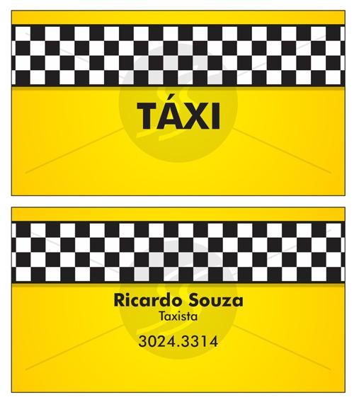cartao de visita taxistas amarelo - Cartão de visita criativo para taxistas
