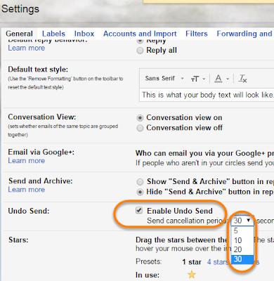 Gmail settings இடைமுகம்