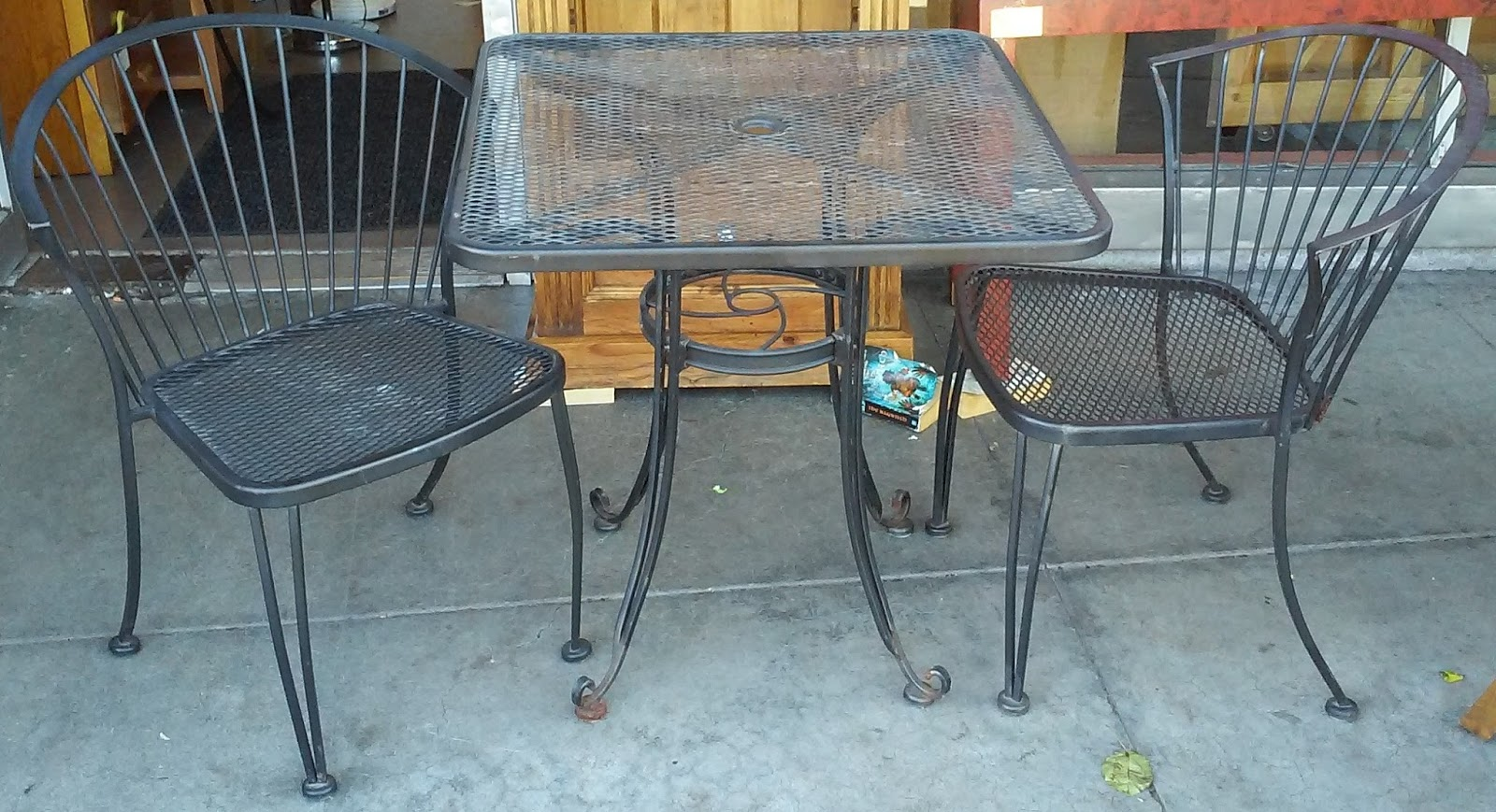 sold wrought iron patio bistro set table 2 chairs 115 set
