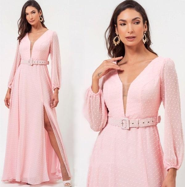 vestido longo rose com mangas longas