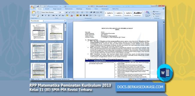 RPP Matematika Peminatan Kurikulum 2013 Kelas 11 (XI) SMA-MA Revisi Terbaru Tahun 2019-2020