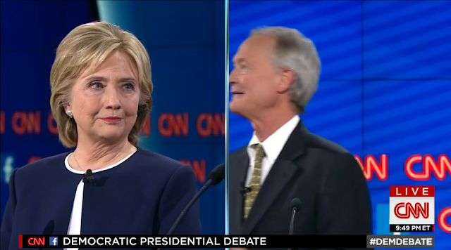 Lincoln Chafee CNN Democratic Party debate split-screen camera