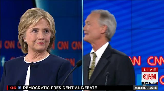 Lincoln Chafee CNN Democratic Party debate split-screen camera