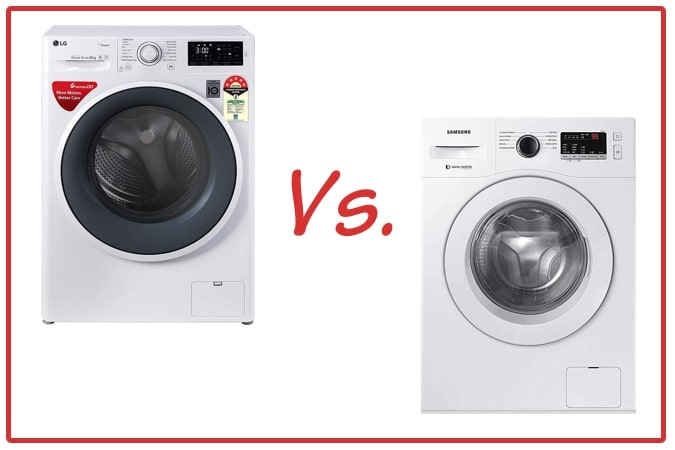 LG FHT1006ZNW (left) and Samsung WW65R20GLSW/TL (right) Washing Machine Comparison.