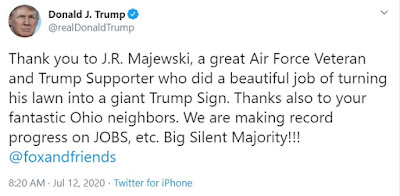30675898 8514993 President Trump praised Majewski on Twitter and thanked him for  a 12 1594584308788 - Air Drive veteran paints his total yard with big Trump 2020 banner