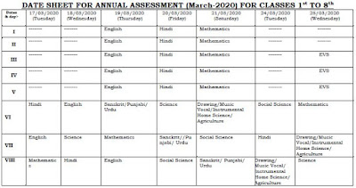 image : Haryana Class 1st to 8th Date Sheet March 2020 (Latest) @ Haryana-Education-News.com
