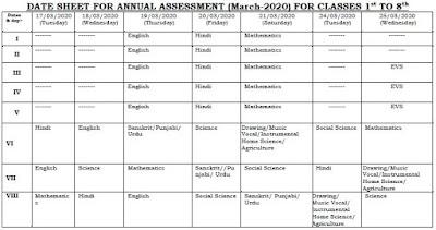 image : Haryana Class 1st to 8th Date Sheet March 2020 (Latest) @ Haryana-Education-News.com