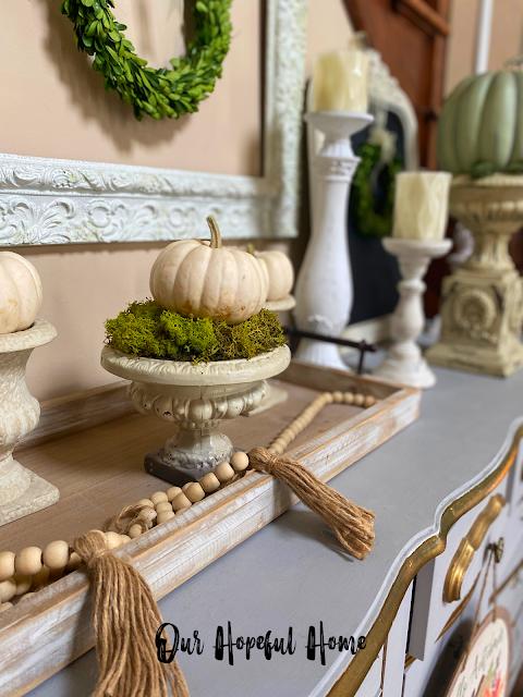thrifted urns baby boo pumpkins farmhouse wooden beads
