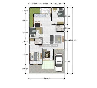 Denah Rumah Minimalis 8x15