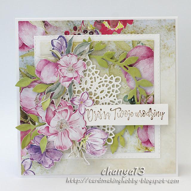 327. Kartka z kwiatami na urodziny
