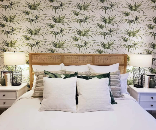 Palm Leaf Wallpaper Accent Wall Behind Bed