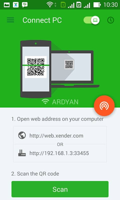 Xender Connection to Laptop / PC through Web