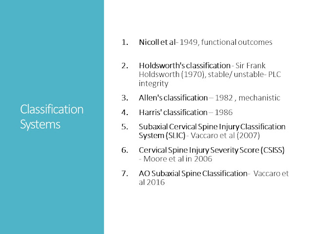 Classification Cervical Spine Injuries