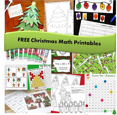 FREE Christmas Math Printables for Kindergarten, first grade, 2nd grade, 3rd grade, 4th grade, and 5th grade students