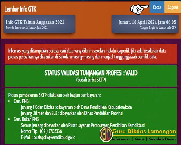 Status Validasi Tunjangan Profesi Guru Lamongan Sudah Terbit SKTP Periode Semester 1 Tahun Anggaran 2021