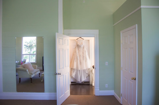 wedding dress in getting ready room at white orchid