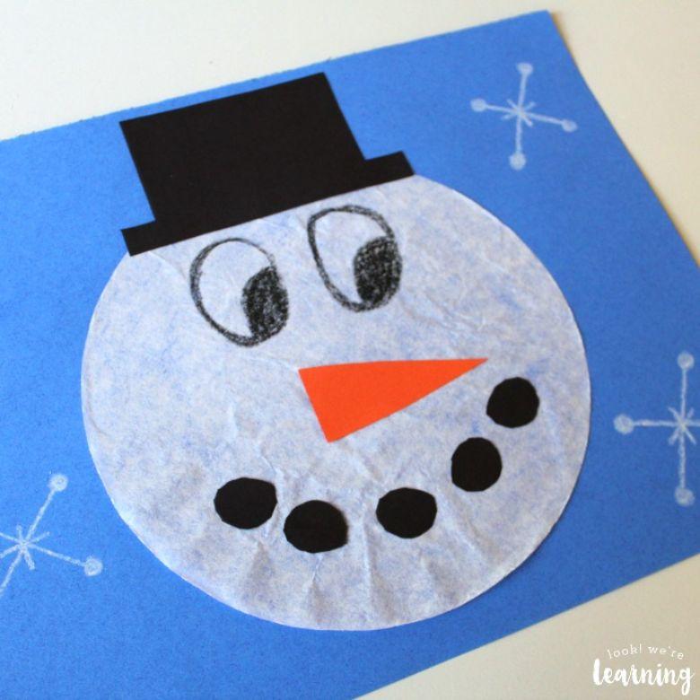 snowman coffee filter winter craft for kids