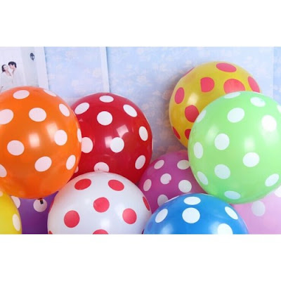 Balon Latex Polkadot 12 Inch (Warna Campur)