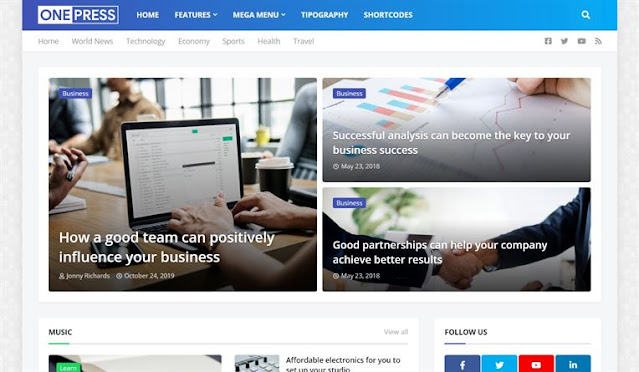 OnePress Blogger Template For News Website
