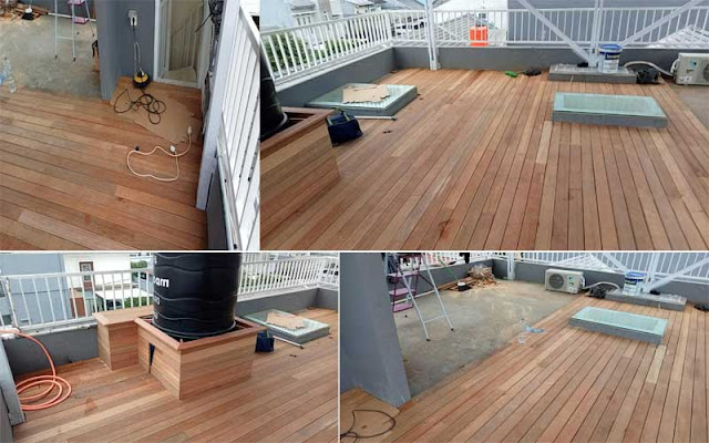 Project pemasangan decking kayu bengkirai