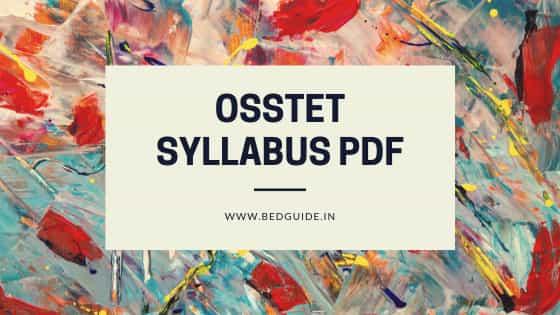 OSSTET Syllabus PDF Download