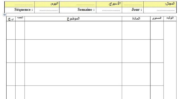 نموذج تسطير المذكرة اليومية باللغتين الفرنسية و العربية جاهزة للتعديل و الطبع
