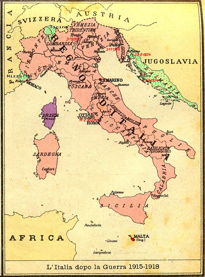 Areas Of Italy Map.The Italian Monarchist Unredeemed Italy The Background