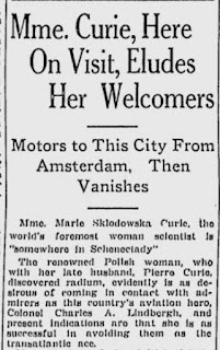 "Newspaper clipping with headline ""Mme. Curie, here on visit, eludes her welcomers"""