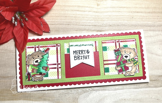 Merry & Bright by Debbie features Newton's Home for Christmas, Sentiment of the Season, Plaid, Slimline Frame & Windows, and Slimline