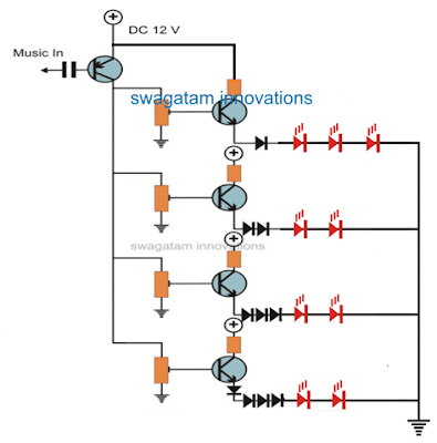multi LED music light sequence circuit with transistors