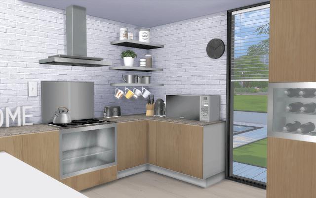 maison avec cuisine décorée sims 4