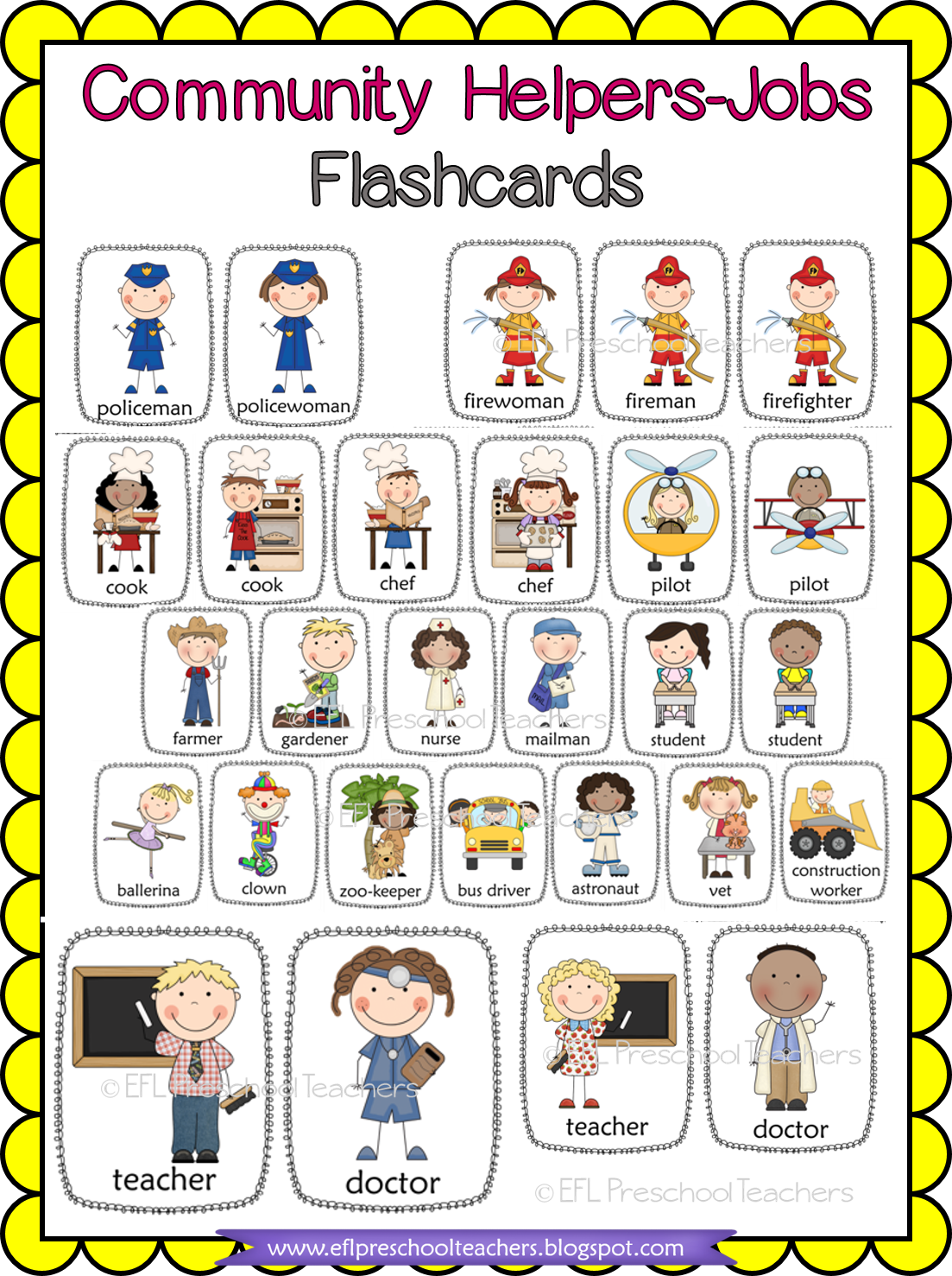 Esl Efl Preschool Teachers Community Helper Unit For