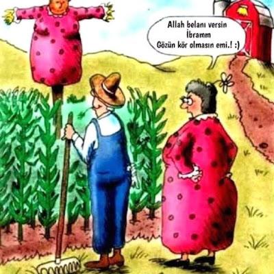 karikatür, mısır, bostan, korkuluk, tırmık, ibram, dırdır, kadın, tombul kadın, komik paylaşım, komedi dünyası,