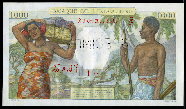 Djibouti French Somaliland money currency 1000 Francs banknote Polynesia Tahiti Islands tourism travel