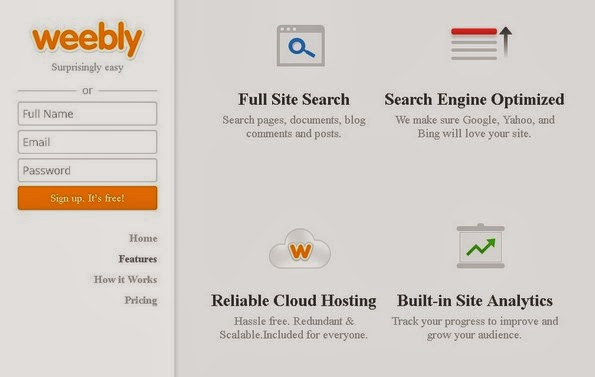Weebly free website building service