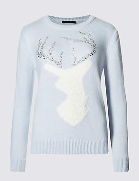 Marks and Spencer pale blue reindeer Christmas jumper