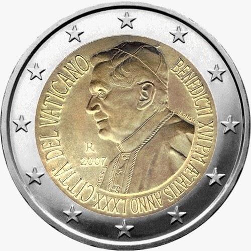 2 euro coins Vatican City 2007, Pope Benedict XVI