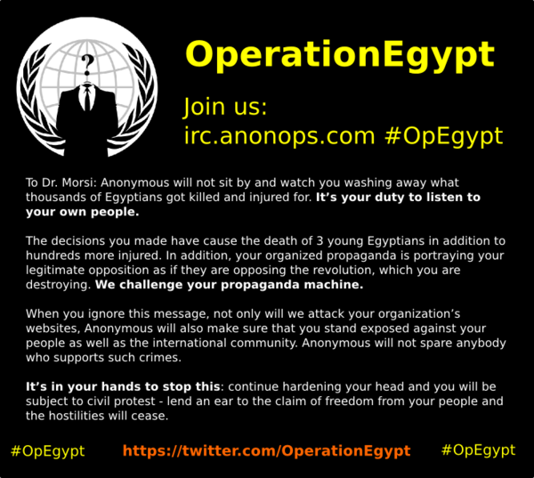 Anonymous hit Egyptian Government Websites as #OpEgypt