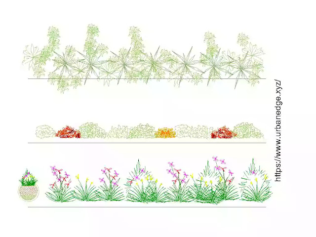 Plants and grass plan and elevation cad blocks download, dwg models