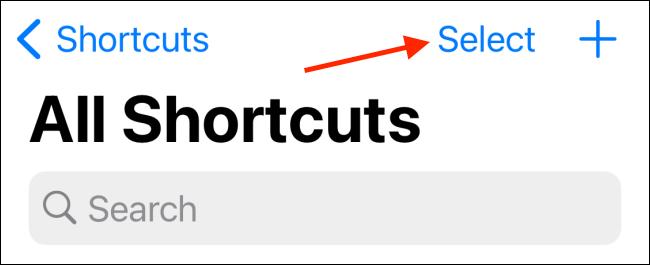 اضغط على تحديد من علامة التبويب My Shortcuts