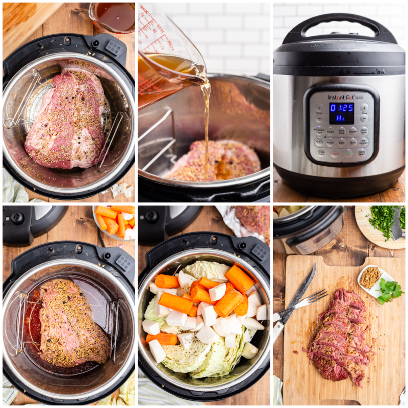 Six photos of the process of making Keto Instant Pot Corned Beef and Cabbage.