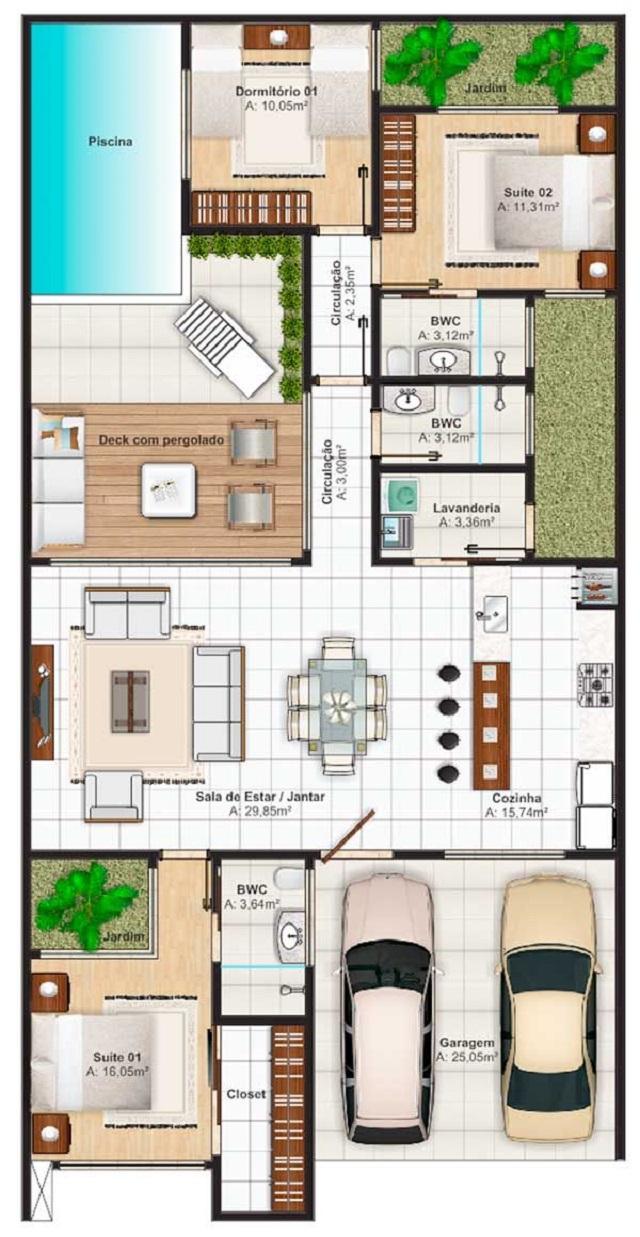 Plano de casa de 140 m2 planos de casas gratis y - Planos de casas pareadas ...