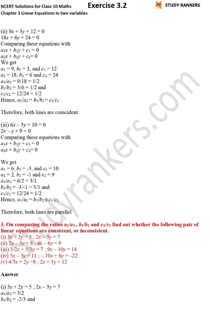 NCERT Solutions for Class 10 Maths Chapter 3 Pair of Linear Equations in Two Variables Exercise 3.2 Part 4