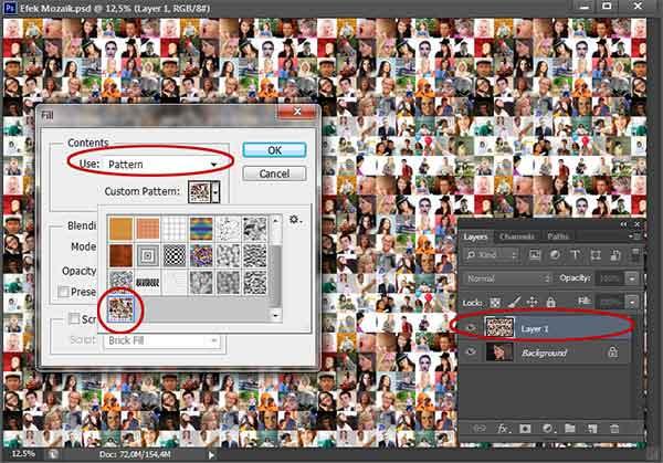 Fill Layer 1 bersama dengan pattern mozaik