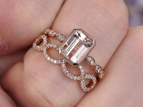 8x6mm Rose Gold Morganite engagement ring diamond Solid 14k Rose gold promise ring for her, loop curved wedding band custom made fine jewelry Price: $859.00
