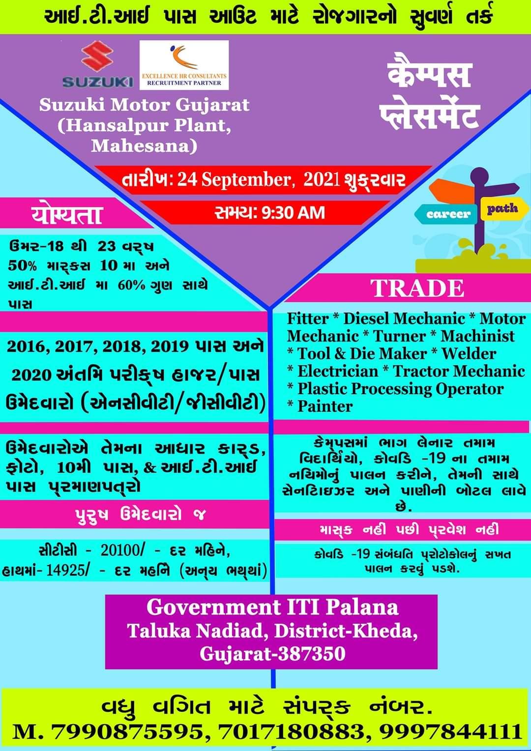 Suzuki Motors Cars Manufacturing Plant - ITI Campus Placemat Recruitment at Govt ITI Palana, Gujarat