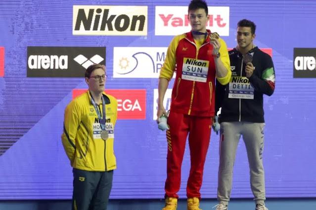 Pódio dos 400m livre masculino no Mundial de Esportes Aquáticos de 2019