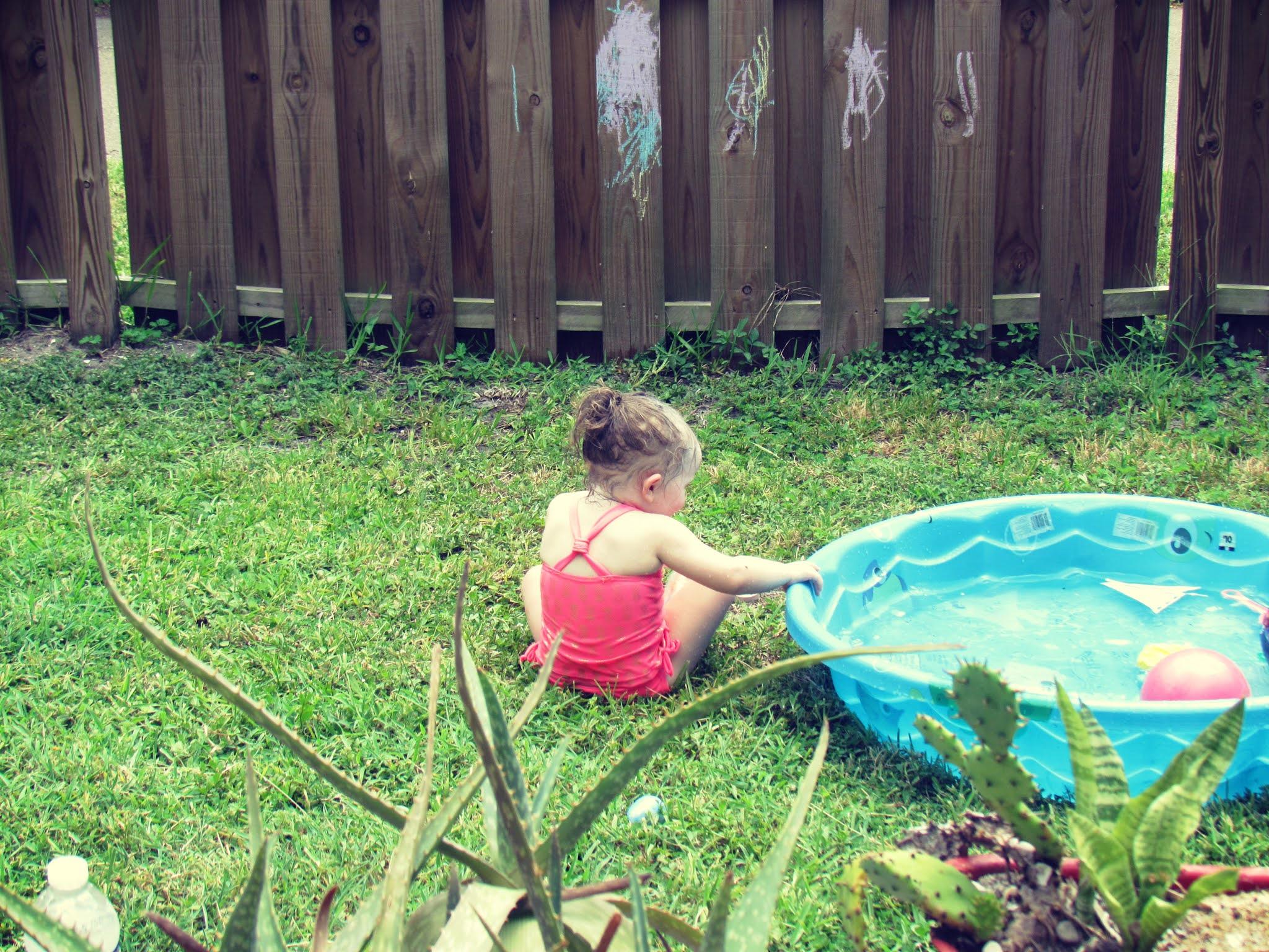 Backyard with girls baby toys, novelty toys, summer beach toys